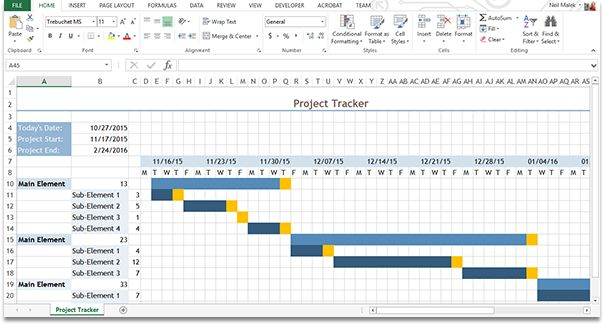 This downloadable is a sample Gantt chart created in Microsoft Excel