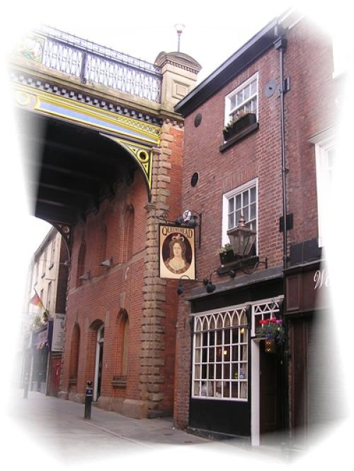 Stockport, Greater Manchester. Queens Head, Little Underbank Stockport, said to be one of the most haunted pub's in Stockport, boasting the ghost of a cavalier who was encarserated in a top room and starved to death.  Also holding the smallest room in Stockport, said to be an old gallows room.