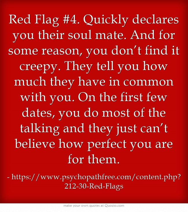 """Red Flag #4. Quickly declares you their soul mate.  --Also works of best friend, most amazing sister, etc.  """"It is amazing how much we are the same.""""  And you just spent the last (insert length of time) telling them how to let you think they are right.  You are now playing into their hands."""