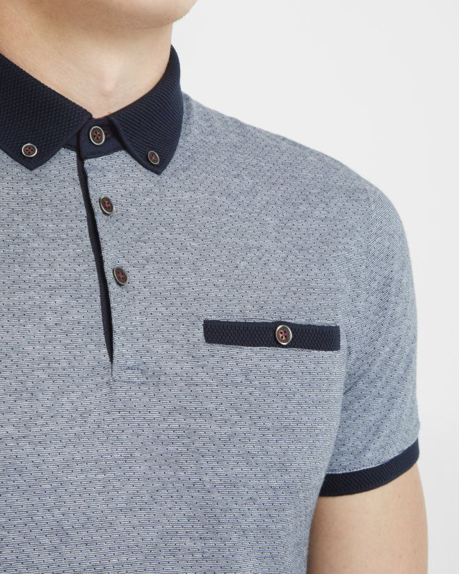 Jacquard pindot polo shirt - Navy | Tops & T-shirts | Ted Baker UK