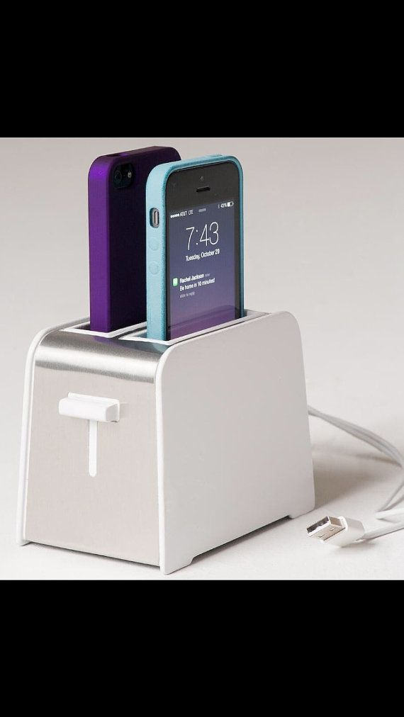 Foaster iPhone 5/5S/C charger toaster design charge 2 phones in the same time gadget kitchen home birthday gift on Etsy, $124.81
