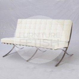 Replica Barcelona Chair - Platinum Edition 2 seater (White)
