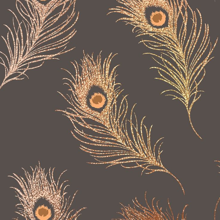 The copper peacock feathers reflect light from the holographic glitter effect ,giving a very sparkly and elegant look to your wall.   This is a very smooth wallpaper with no texture, the holographic design creates the illusion of beautiful tiny crystals shimmering in the light.