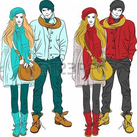 set mode stijlvolle jongen en meisje in warme kleren in twee kleuren Stockfoto - 18312225