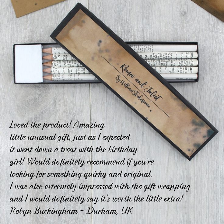 A lovely review from one of our @notonthehighst customers who bought our #romeoandjuliet pencil sets Thank you!