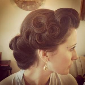 Pin curls, vintage hairstyle, up do, wedding occasion hair, curls by jeannine