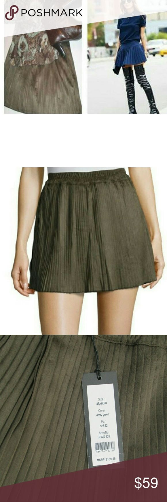 """Weekend Sale  Faux Suede Pleated Mini Luxuriously soft faux suede mini  the hottest color of the season. Accordion pleated skirt is 15"""" long and has a semi sheer black boy short attached under skirt to  prevent wardrobe malfunctions.. See  additional photos for color in natural light.   Regular price 59 Romeo & Juliet Couture Skirts Mini"""