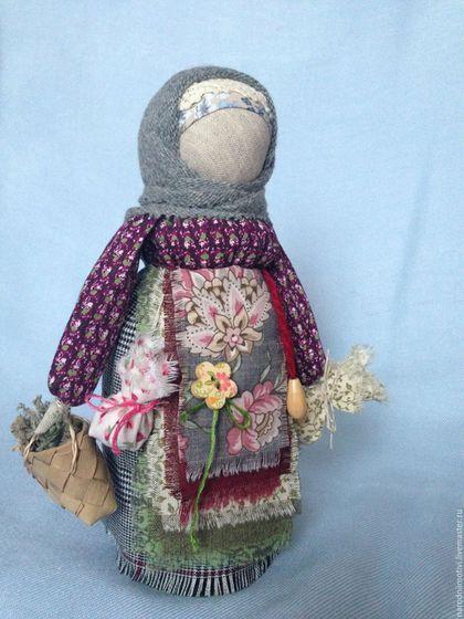 Народная кукла, оберег, Берегиня дома, оберег для дома, оберег для семьи, русский стиль,  бордовый, зеленый, серый, розовый, голубой.