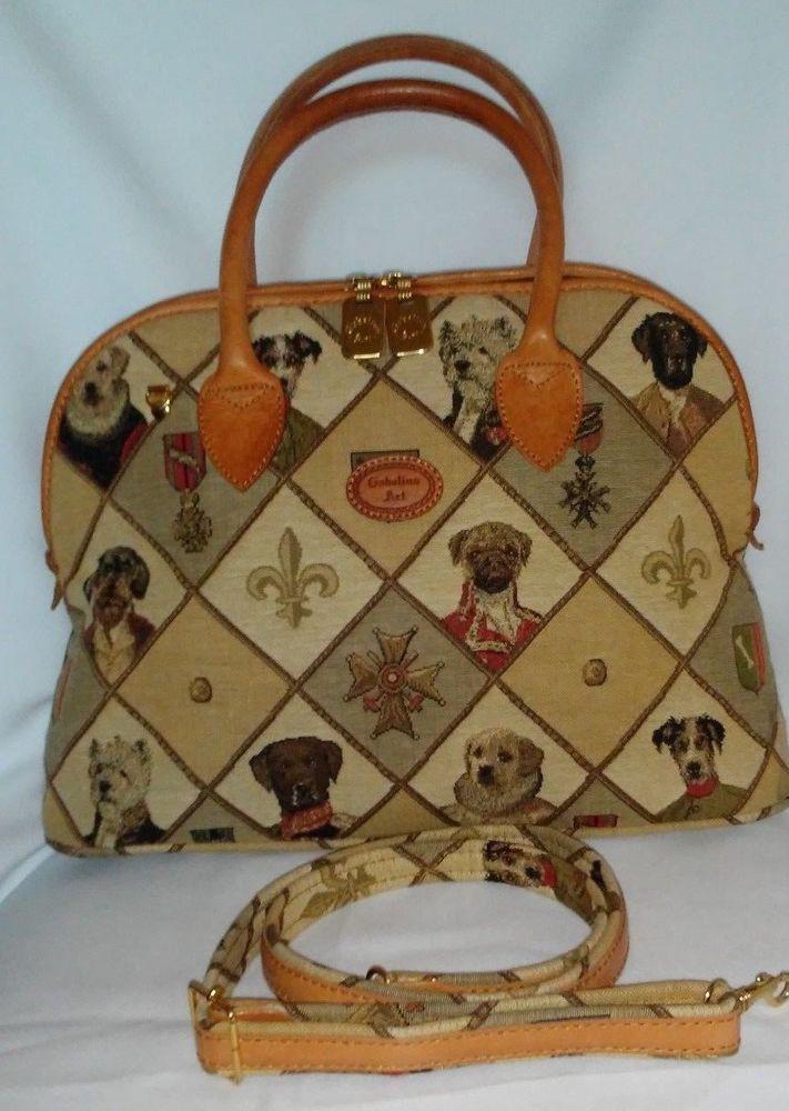 26b8d76917 Gobelins Art Brussels Belgium Tapestry   Leather Bag Purse Dogs of Royalty   GobelinsArt  ShoulderBag