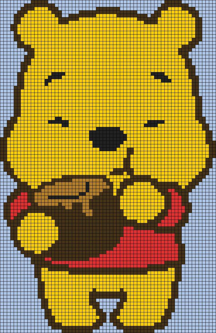 Winnie the Pooh Perler Bead Pattern                                                                                                                                                      More