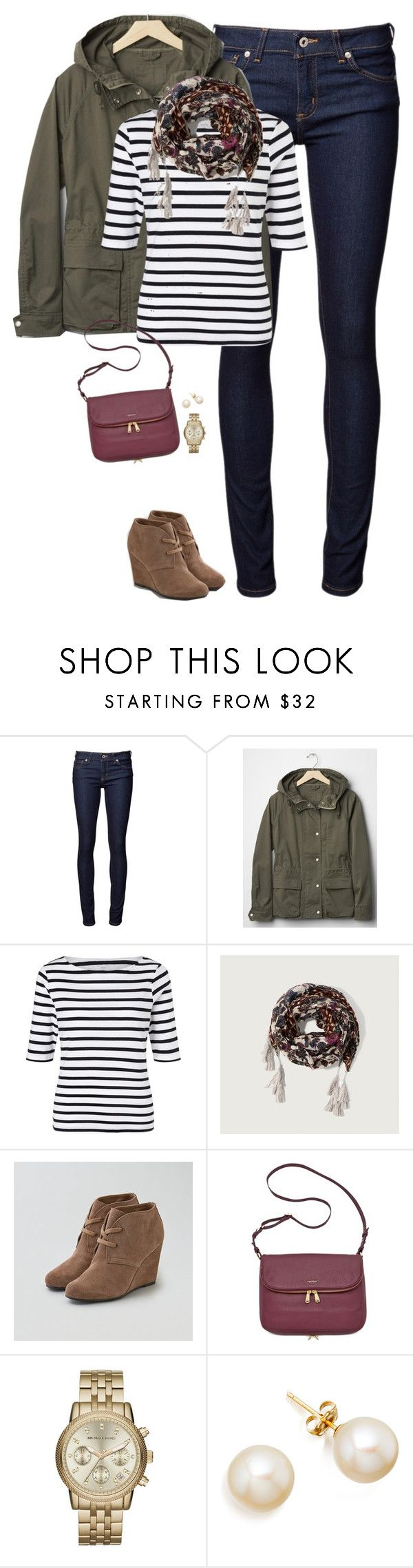 """Gap hooded jacket, striped top & tassel scarf"" by steffiestaffie ❤ liked on Polyvore featuring Naked & Famous, Gap, John Lewis, Abercrombie & Fitch, American Eagle Outfitters, FOSSIL, Michael Kors, women's clothing, women and female"