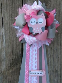 Owl baby shower-owl corsage