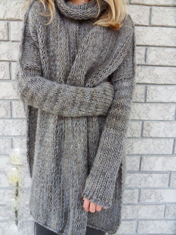 Slouchy/Bulky /Oversized sweater.Chunky knit sweater. Marble grey sweater. Loose fit wool sweater.