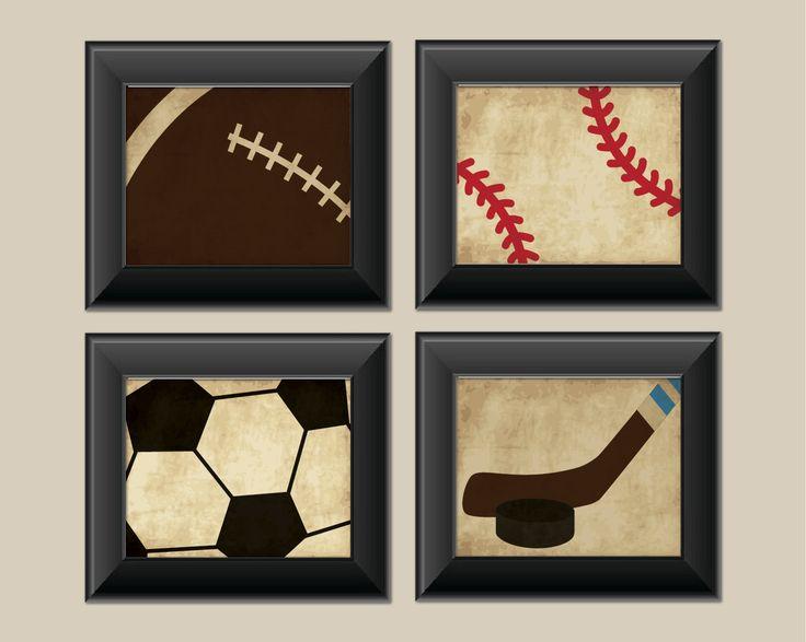 Set Of 4 Vintage Sports Prints Baseball Football Hockey Soccer Boys Room Decor Jameson Bedroom Ideas Pinterest And