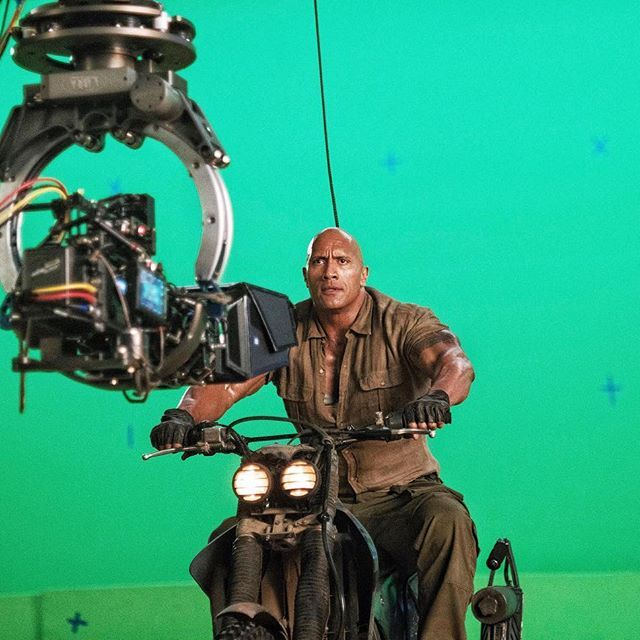 For #Jumanji we shot for two months in the Hawaiian jungles and mountainous terrain - now for our final weeks we bring our filming inside and come to huge sound stages where we shoot all our very technical VFX green screen action.  Always so impressed with this process as we get to tap into the minds of some of the most brilliant visual effects filmmakers in the world.  Now the only drawback to not being in the real jungle, is that I can't f*ck with Kevin Hart by throwing spiders on him, but…