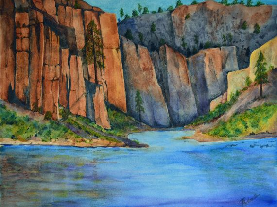 Blue River is a watercolor painting original. by TerriRobertsonArt