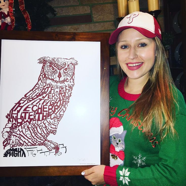 Some of my favorite Christmas gifts this year! How cool is the Temple University Owl with the fight song written out on it?!?! Im still obsessing over it!  I also got a new Phillies hat with the Temple logo on it. Obviously there was a theme for my gifts this year   . . . . . #temple #templeowls #phillywordart #philly #philadelphia #phillies #philadelphiaphillies #christmasgift #baseballcap #fightsong #templeuniversity #owl #wordart #wordartgifts #templealumni #templealum