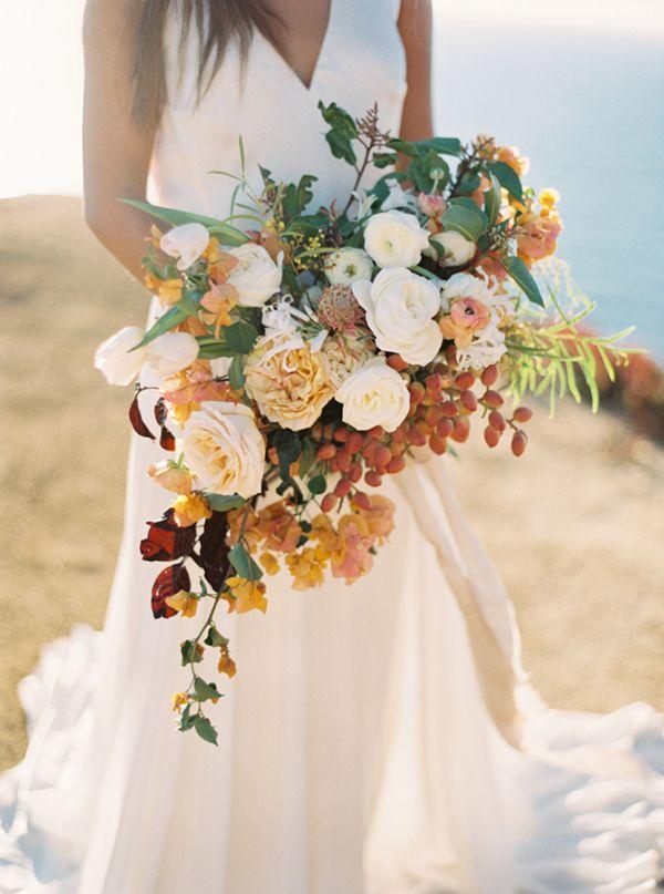 Umber, Gold, and Yellow Organic Bouquet | Cassidy Carson Photography | Hey Wedding Lady Picks for a Fabulous 2016 Wedding! - http://heyweddinglady.com/hey-wedding-ladys-picks-fabulous-2016-wedding/