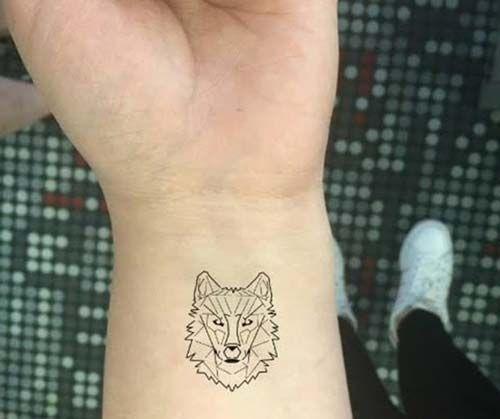 geometrik kurt bilek dövmeleri geometric wolf wrist tattoos