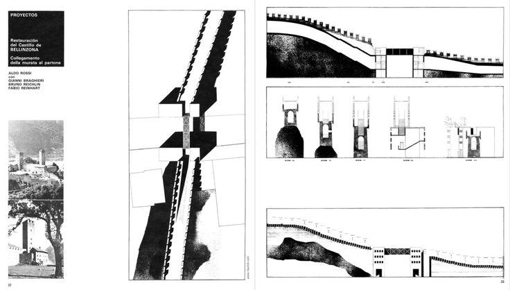 """Aldo Rossi, Gianni Braghieri, Bruno Reichlin, Fabio Reinhart, Project for connecting the walls to the main door of Castel Grande, 1974 (Restauración del Castillo de Bellinzona, in """"2c: Construccion de la ciudad"""", Barcelona, Grupo 2c, 1975, n. 5, p. 23)"""