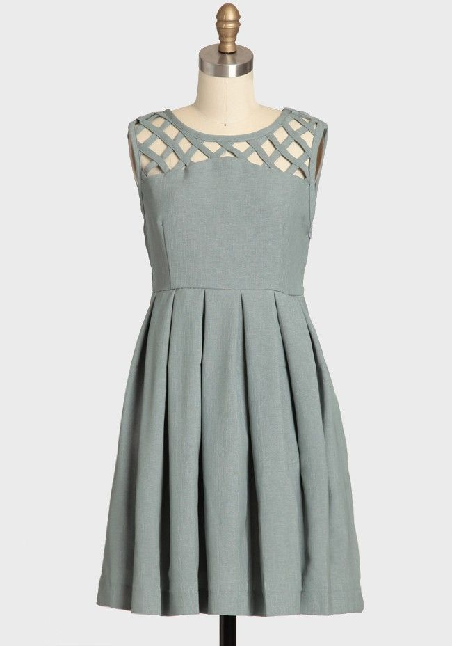 Lily Pleated Dress In Gray By Dear Creatures | Modern Vintage Dresses