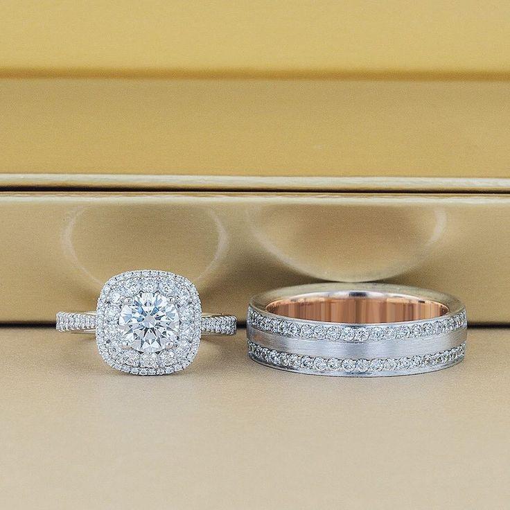 The perfect match. Rings by: Simon G. Jewelry #jbrooksjewelers #engagementring #engagement #mensband #diamond