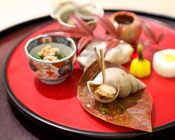 Assorted Autumn flavors from the ocean and land: Horagai mountain vegetables with prawn miso and walnuts dried sea cucumber deep-fried taro with bonito powder pickled daikon with persimmon etc. - Tagetsu 太月  #missneverfull_Tokyo by miss_neverfull