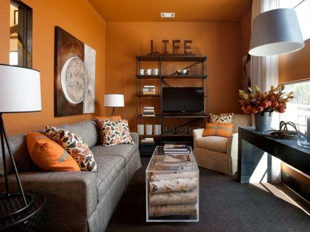 couleur de peinture pour salon orange et table en verre pleine de bois