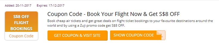 Book cheap air tickets and get great deals on flight ticket bookings to your favourite destinations around the world and by using a Zuji promo code get S$8 OFF. #Zuji_voucher_codes #Singapore https://sg.collectoffers.com/Zuji