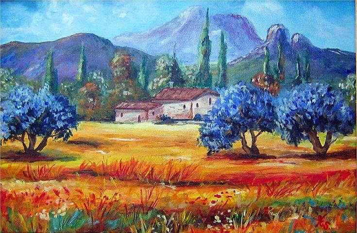 Acrylique paysages de provence recherche google for Peinture acrylique