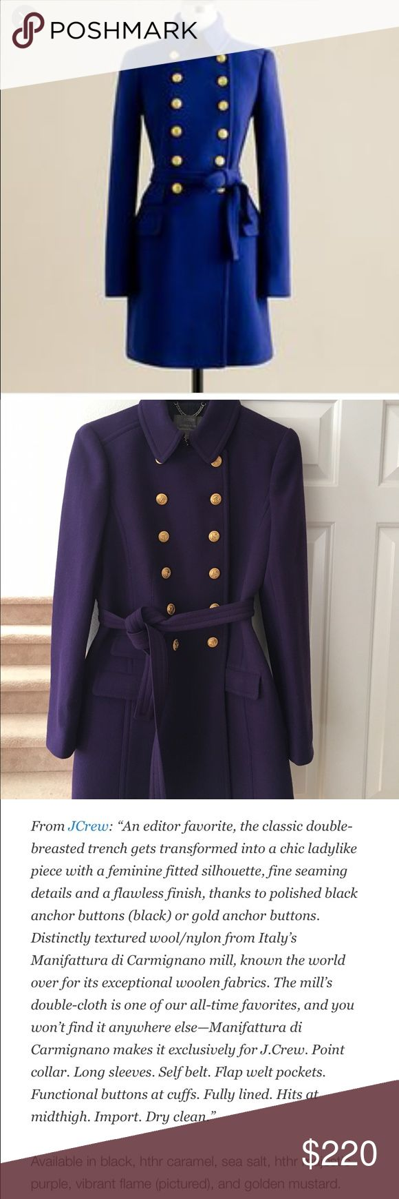 Jcrew townhouse trench size 10.  Runs small Gorgeous majestic purple townhouse trench.  Purchased this from another posher as NWOT.  Only worn once. J. Crew Jackets & Coats Pea Coats