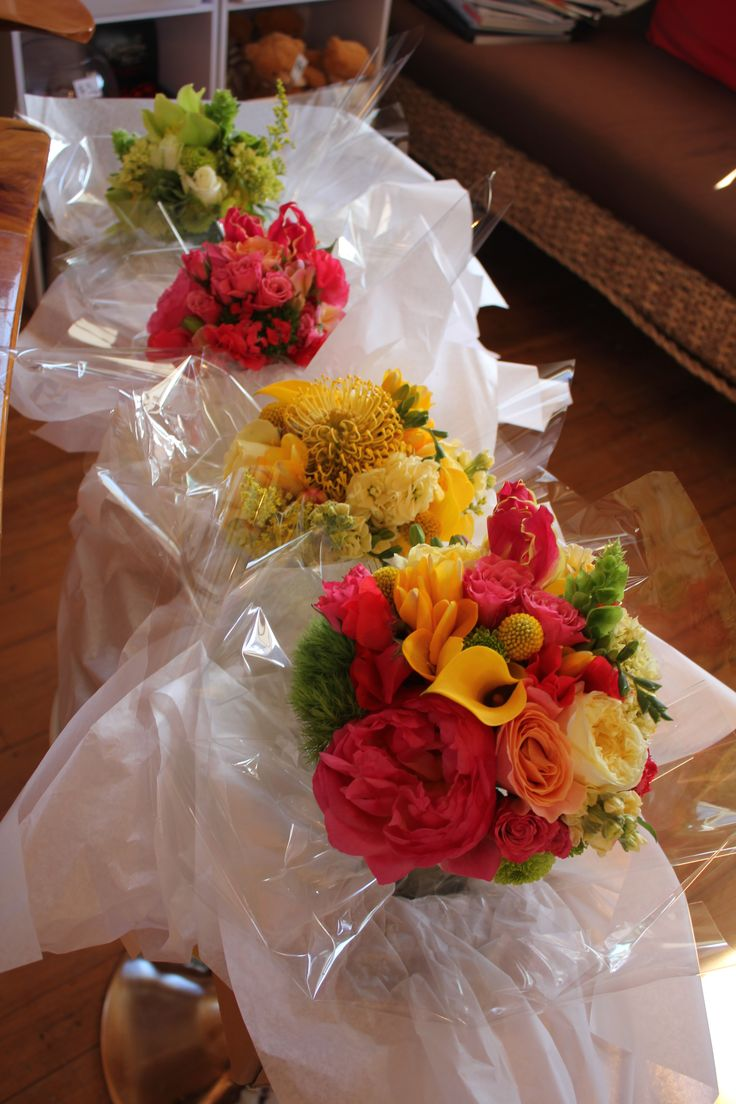 Multicoloured bridesmaids - Rustic wedding flowers made by Amy's Flowers