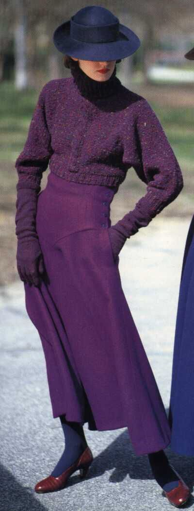 Perry Ellis 80s does 30s??? Purple skirt long sweater cropped hat gloves winter look