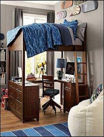 les lits mezzanine avec plan de travail decoration interieure