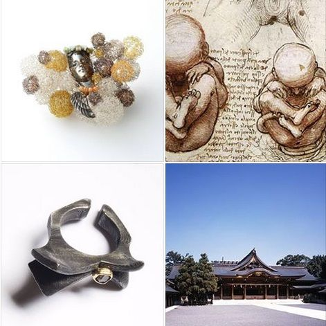 dialoghi .... Angelo Lomuscio ring 'Samukawa Shrine' - Emiko Shigeta 'Toward the future' brooch