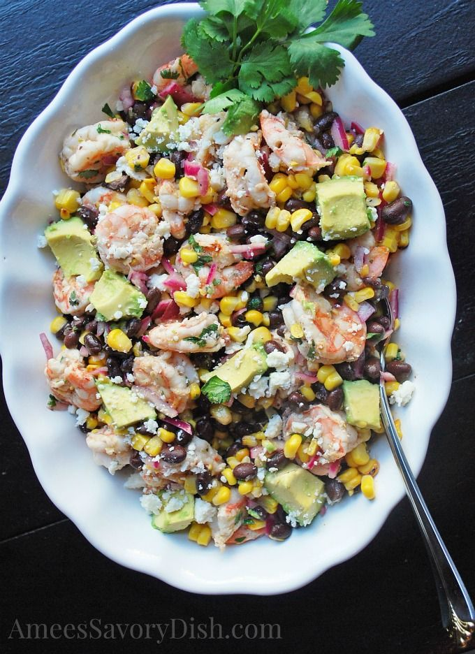 Grilled Mexican Shrimp, Corn and Avocado Salad
