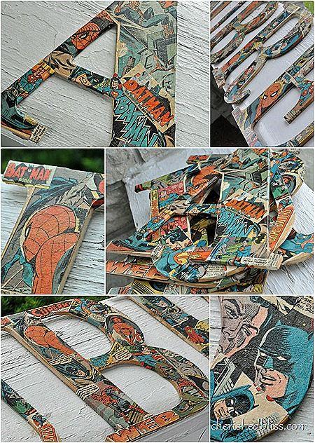 Mod Podge Comic Book Letters using old comic books via cherishedbliss.com