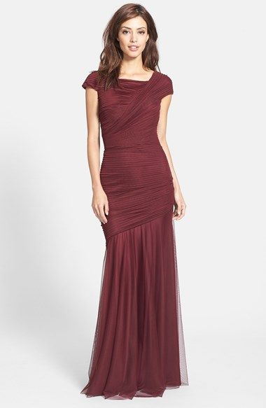 Free shipping and returns on Tadashi Shoji Asymmetrical Ruched Cap Sleeve Jersey Gown at Nordstrom.com. Asymmetrical draping sculpts the pleated bodice of a statuesque gown before releasing to a soft netted skirt.