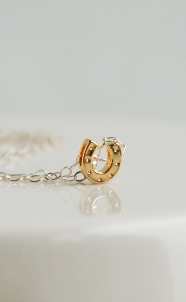 Tiny Lucky HORSE SHOE Charm Necklace Sterling