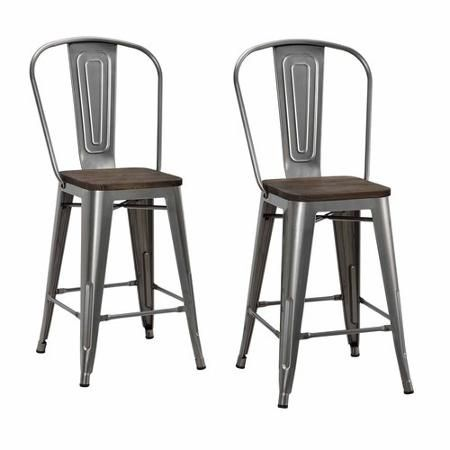 "Dorel Home Products Luxor 24"" Metal Counter Stool with Wood Seat, Set of 2, Multiple Colors - Walmart.com"