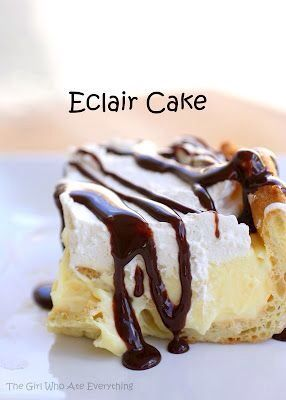 chocolate eclair cake 1 cup water 1/2 cup butter 1 cup flour 4 large eggs 1 (8 ounce) package cream cheese, softened 1 large box (5.1 ounces) vanilla instant pudding 3 cups milk 1 8 oz. container cool whip (you won't use the whole container) or one batch of homemade whipped cream chocolate syrup or homemade chocolate sauce