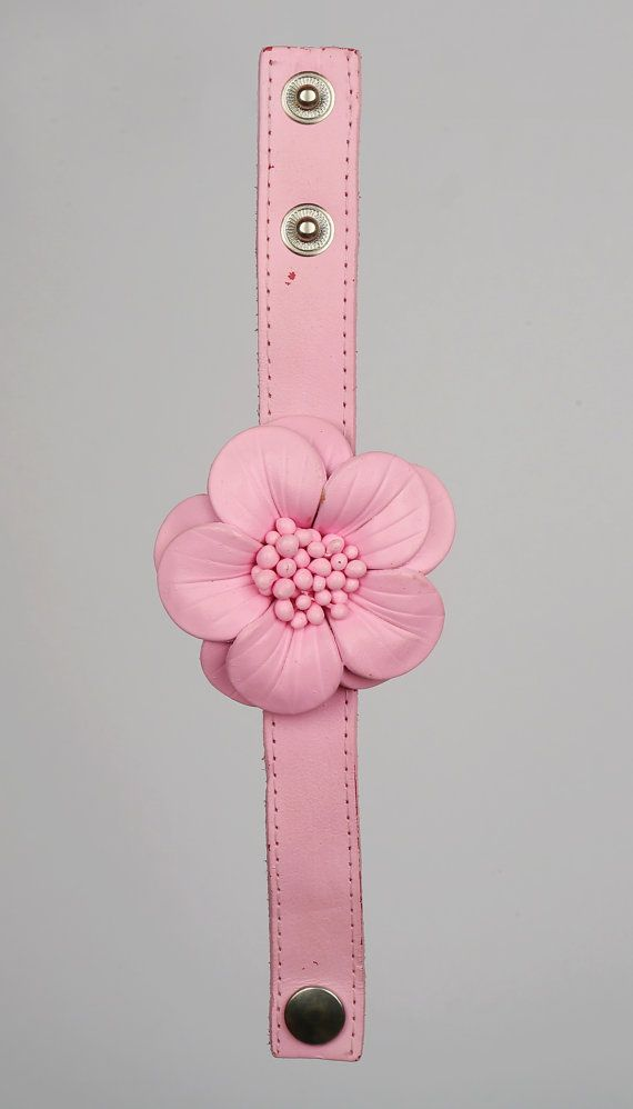 Leather Flower Bracelet by LeatherAX on Etsy