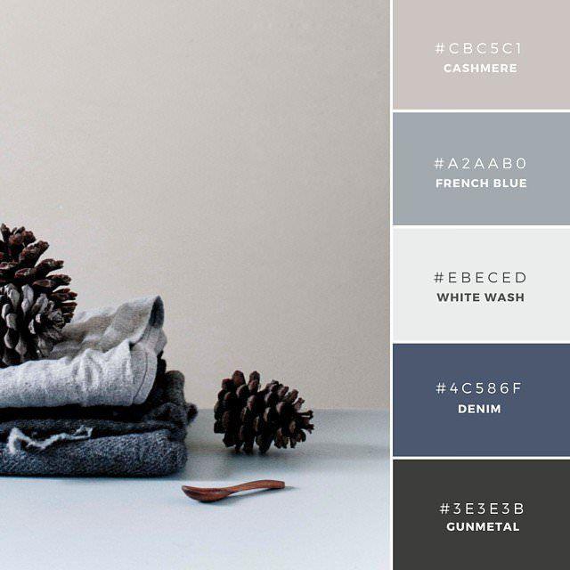 18. French Connection  青色をベースにしたグラデーションが美しい配色カラーパレット。CashmereとGunmetalを温かみのある印象を与え、涼しい青との素敵なコントラストを表現しています。またユニセックスな(英: Gender-Neutral)配色で、結婚式の引き出ものや招待状などに。
