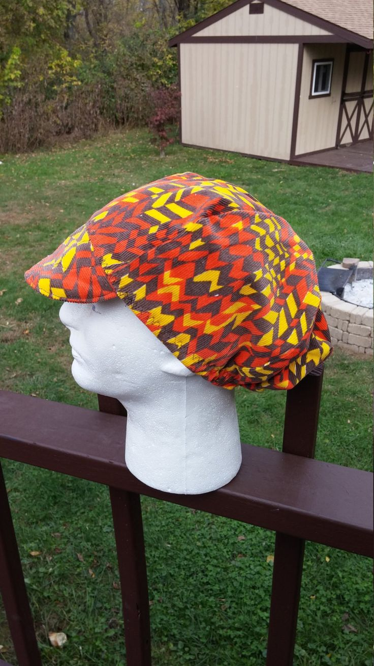 Floppy Corduroy Patchwork Orange and Yellow Psychedelic Festival Hat by AirCooledClothes on Etsy