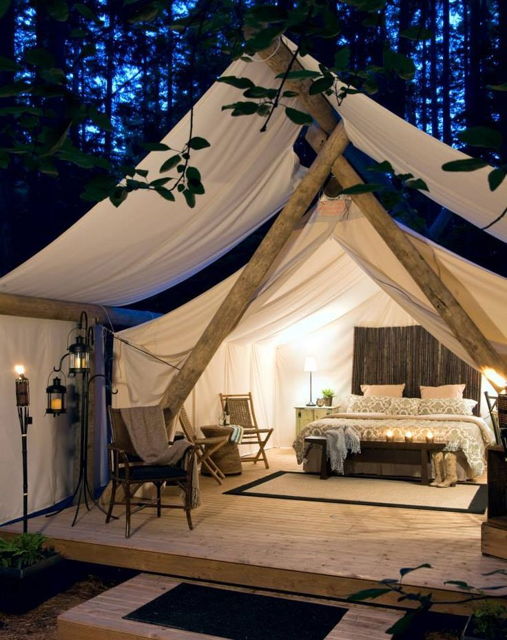 When you say camping this is definitely not the image yo have in mind. Well, this is actually glamping and it's the more glamorous version of the typical tent and sleeping bag. You basically take the whole bedroom with you in  the woods. Found on Homedit