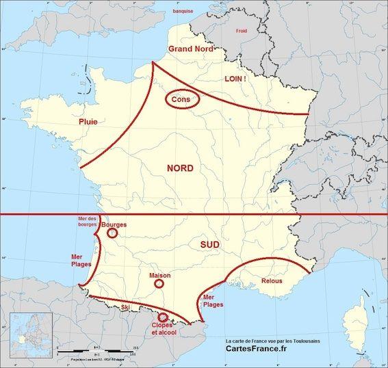 La France vue par les toulousais #french #france #toulouse #carte #geographie