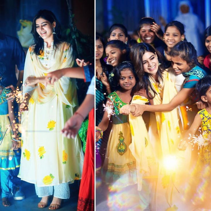 Sam @samantharuthprabhuoffl looking lovely for an equally lovely evening with the kids for Diwali in @picchika