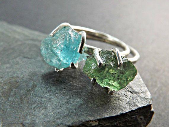 Rough crystal ring Apatite Ring Garnet Ring Silver by CrazyAssJD