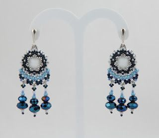Nitecznik earrings beading beads blue handmade nitecznik.blogspot.com