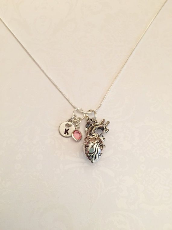 Human Anatomical Heart Necklace Anatomy Heart with Birthstone & Initial Gift for Doctor Med Student Nurse Cardiologist Firefighter Paramedic